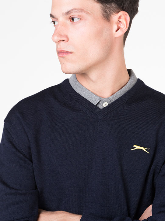 Navy Blue Golf Jumper inspired by golf legend seve ballesteros