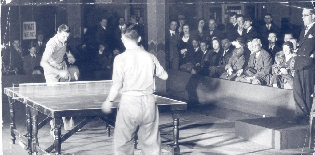 fred perry playing table tennis fred perry with slazenger