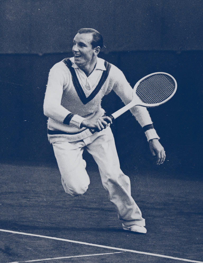 fred perry with slazenger playing lawn tennis
