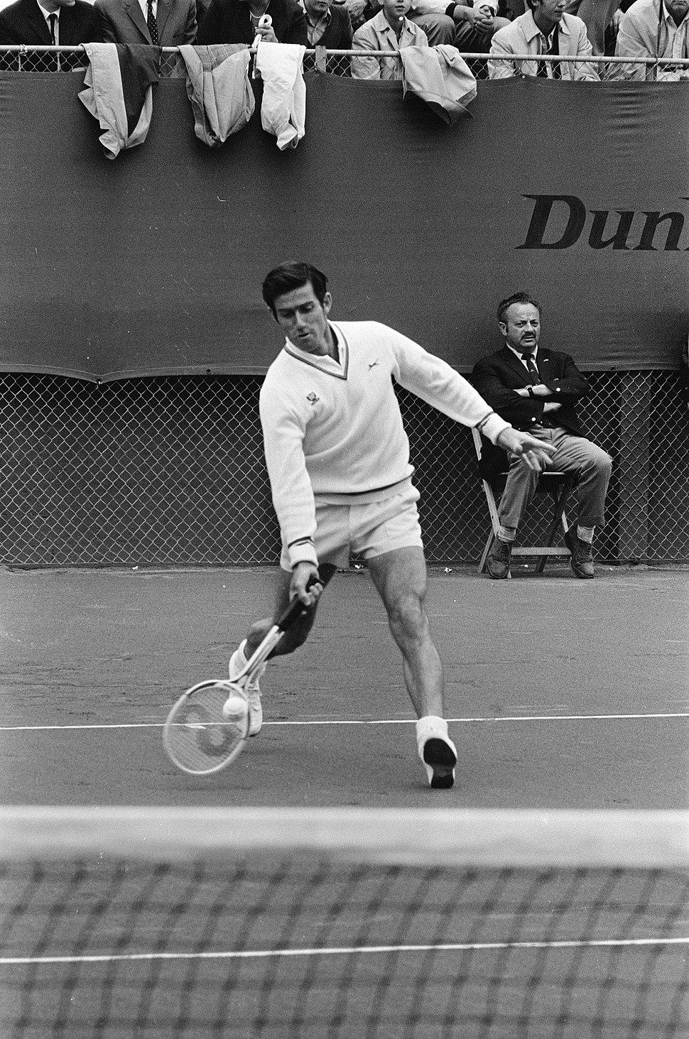 Ken Rosewall playing tennis